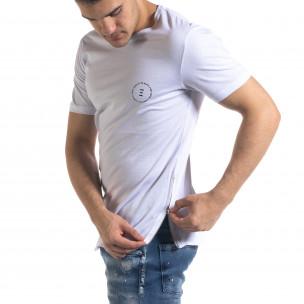 Мъжка бяла тениска с ципове