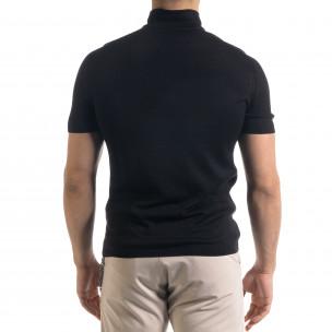 Slim fit мъжка плетена блуза в черно  2