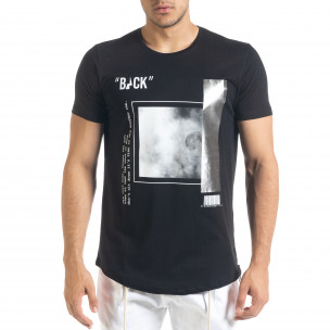 Мъжка черна тениска с цип и сребрист принт 2