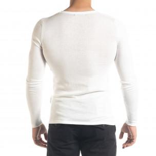 Basic Slim fit мъжка плетена блуза в бяло  2
