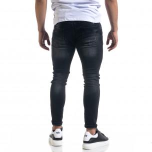 Мъжки черни дънки Slim fit с пръски боя  2