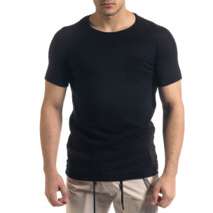 Slim fit черна мъжка плетена блуза Biker