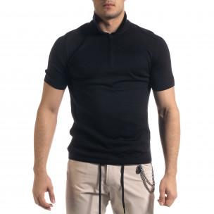Slim fit мъжка плетена блуза в черно