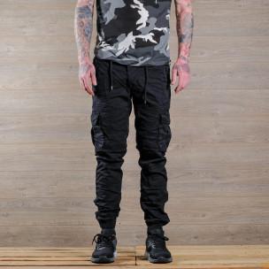 Черен мъжки Cargo Jogger в рокерски стил 2