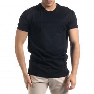 Мъжка черна тениска с обърнати шевове