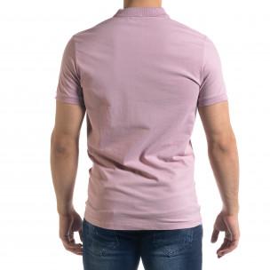 Basic мъжка розова тениска Polo shirt  2