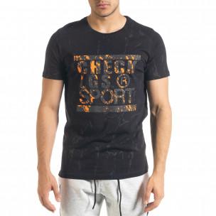 Мъжка черна тениска с принт Splash
