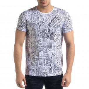 Мъжка бяла тениска с принт Brooklyn
