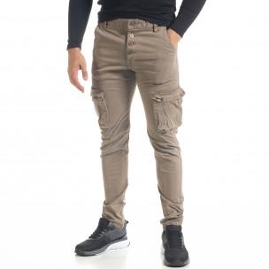 Мъжки карго панталон с прави крачоли цвят каки  2