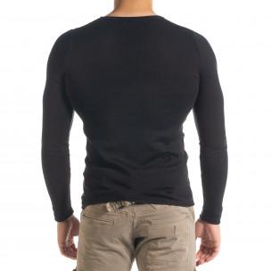 Basic Slim fit мъжка плетена блуза в черно  2