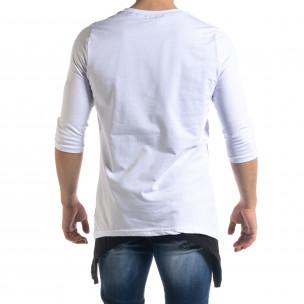 Мъжка бяла тениска с удължени краища  2