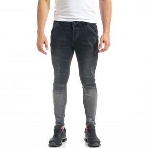 Skinny fit мъжки черни дънки Biker Destroyed