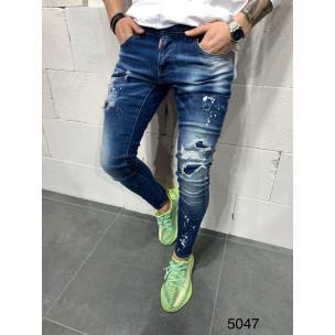Destroyed Slim fit мъжки сини дънки  2