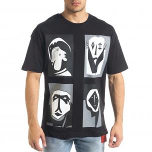 Черна тениска с графичен принт Oversize