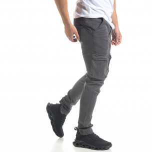 Мъжки карго панталон с прави крачоли в сиво  2