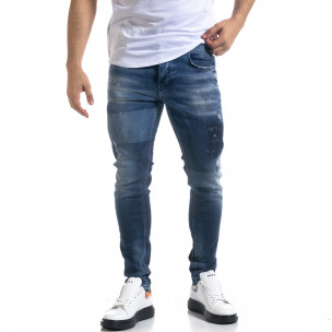 Мъжки сини дънки Slim fit с избелен ефект