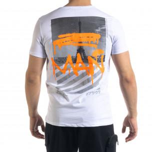 Мъжка бяла тениска с прозрачен джоб  2