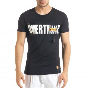 Черна мъжка тениска с прозрачен джоб