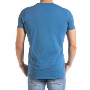 Мъжка синя тениска с принт 2