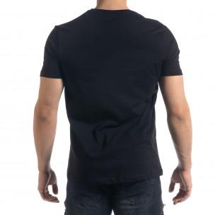 Мъжка черна тениска с апликация  2