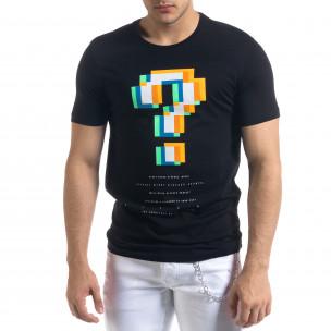 Черна мъжка тениска пикселиран принт