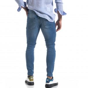 Мъжки сини дънки Slim fit с прокъсвания  2