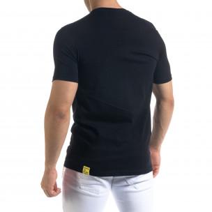 Черна мъжка тениска неонов принт 2