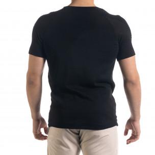 Slim fit черна мъжка плетена блуза Biker  2