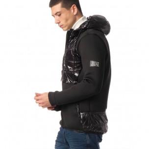 Комбинирано мъжко яке черен контраст. Размер М  2