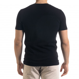 Basic мъжка плетена блуза пике в черно 2