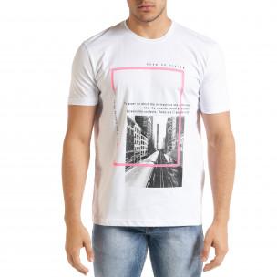 Мъжка бяла тениска Keep on Rising