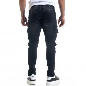 Slim fit мъжки черни дънки с джобове  2