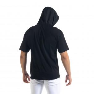 Мъжка тениска в черно с качулка  2