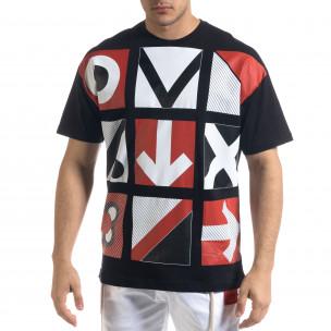 Мъжка черна тениска Signs Oversize