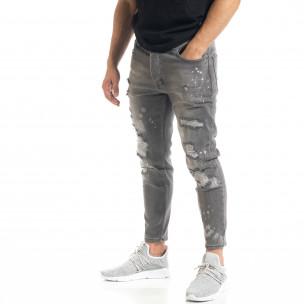 Slim fit мъжки сиви дънки Destroyed с кръпки