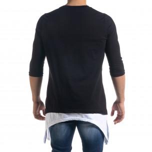 Мъжка черна тениска с удължени краища  2
