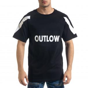Мъжка черна тениска Outlow