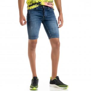 Slim fit мъжки сини къси дънки с прокъсвания