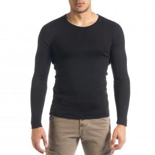 Basic Slim fit мъжка плетена блуза в черно