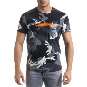 Мъжка камуфлажна тениска с прозрачен джоб