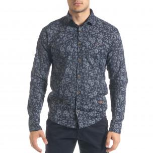 Slim fit синя мъжка риза флорален десен