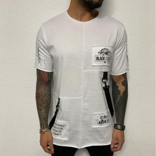 Удължена бяла тениска с акценти