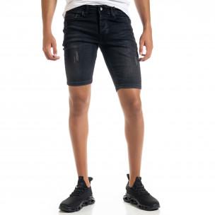 Slim fit мъжки черни къси дънки с прокъсвания