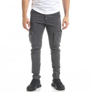 Мъжки карго панталон с прави крачоли в сиво