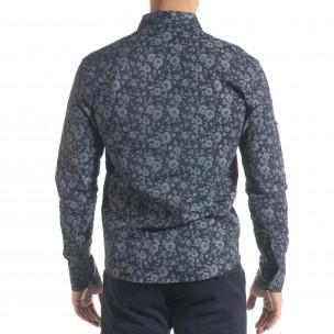 Slim fit синя мъжка риза флорален десен  2