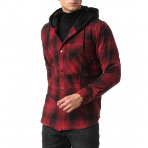 Мъжки кариран суичър-риза с качулка 2