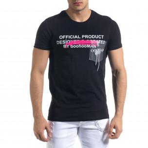 Мъжка черна тениска с прозрачен джоб