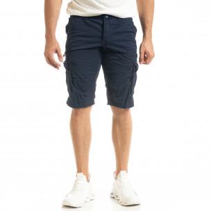 Мъжки тъмносини къси карго панталони  2