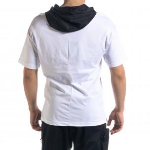Мъжка тениска в бяло и черно с качулка  2