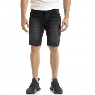 Washed мъжки черни къси дънки